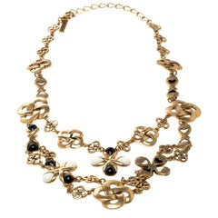 Oscar De La Renta Black & White Resin Gold Tone Two-Tier Necklace