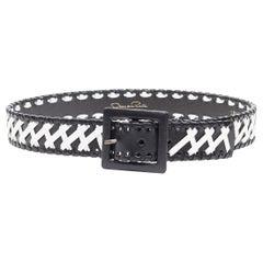 "OSCAR DE LA RENTA black white whipstitch leather buckle belt S 28"""
