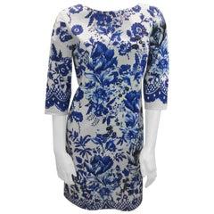 Oscar de la Renta Blue and White Floral Dress
