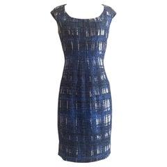 Oscar de la Renta Blue and White Plaid Check Ribbon Weave Silk  Dress