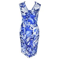 Oscar de la Renta Blue and White Tile Print Dress