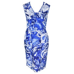 Oscar de la Renta Blue and White Tile Print Dress