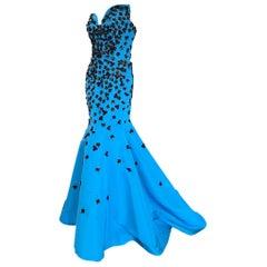 Oscar de la Renta Blue Embellished Mermaid Dress with Sexy Back