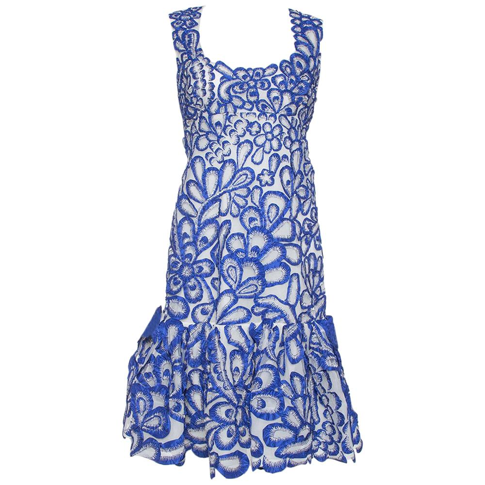 Oscar de la Renta Blue Floral Embroidered Mesh Sleeveless Dress M