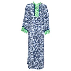 Oscar de la Renta Blue & Green Animal Print Maxi Kaftan Dress XL