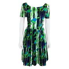 Oscar de la Renta Blue, Green & White Floral Pattern Short Sleeve Flared Dress