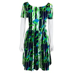 Oscar de la Renta Blue, Green & White Floral Pattern Short Sleeve Flared Dress