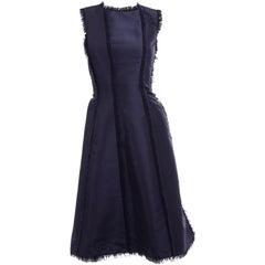 Oscar de la Renta Blue Silk Sleeveless Evening Dress Structured w/ Frayed Seams