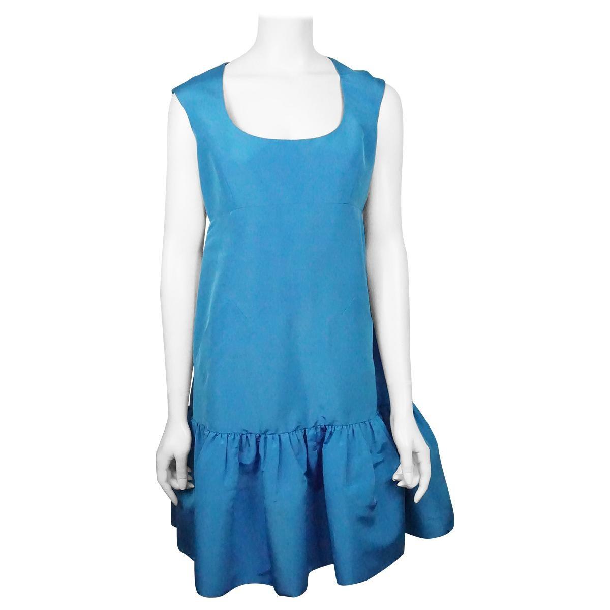 Oscar De La Renta Blue W/ Ruffle Bottom Dress - 8