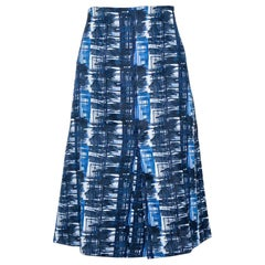 Oscar de la Renta Blue & White Jacquard Patterned A-Line Skirt L