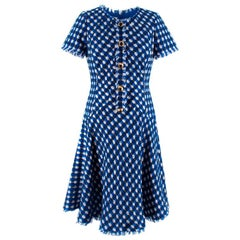 Oscar De La Renta Blue & White Tweed A-Line Dress - Size US4