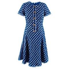 Oscar De La Renta Blue & White Tweed A-Line Dress - Size US4