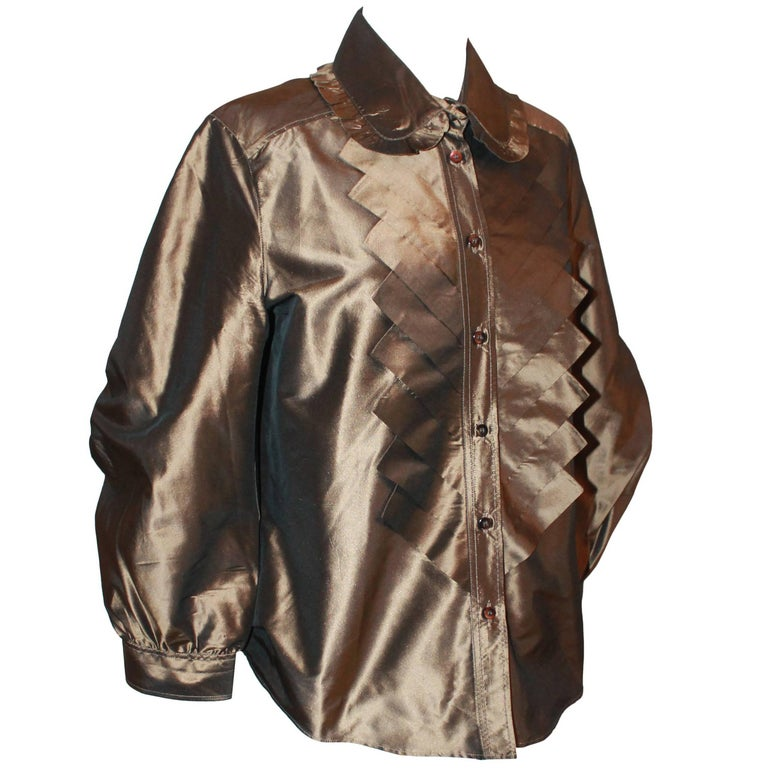 Oscar de la Renta Bronze Blouse - 12 For Sale