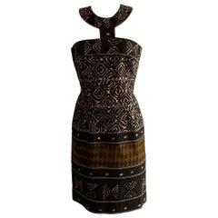 Oscar de la Renta Runway Brown and Ivory Tribal Print Dress with Halter Collar