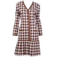 Oscar de la Renta Brown and White Check Dress New With Original Tags