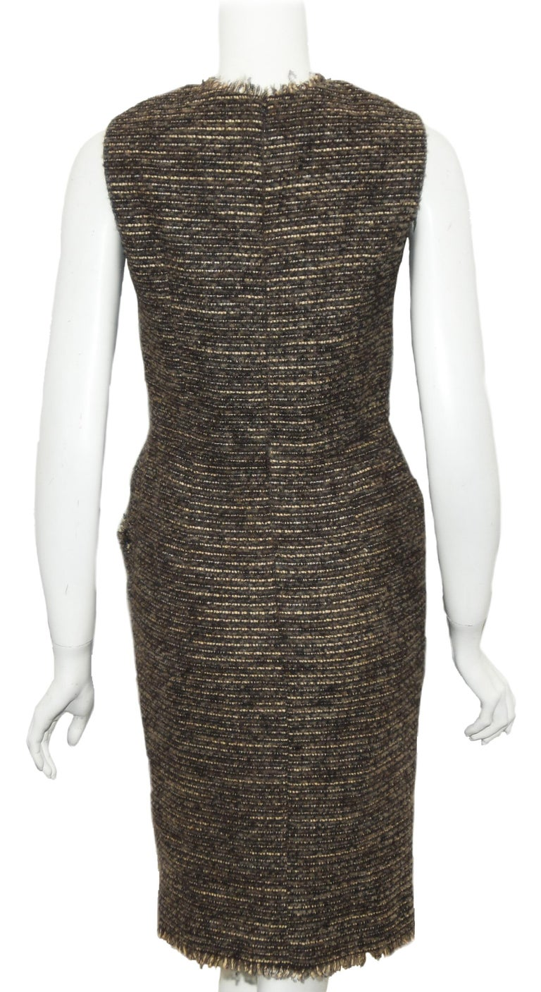 Black Oscar de la Renta Brown & Beige Sleeveless Dress From 2009 Fall Collection   For Sale