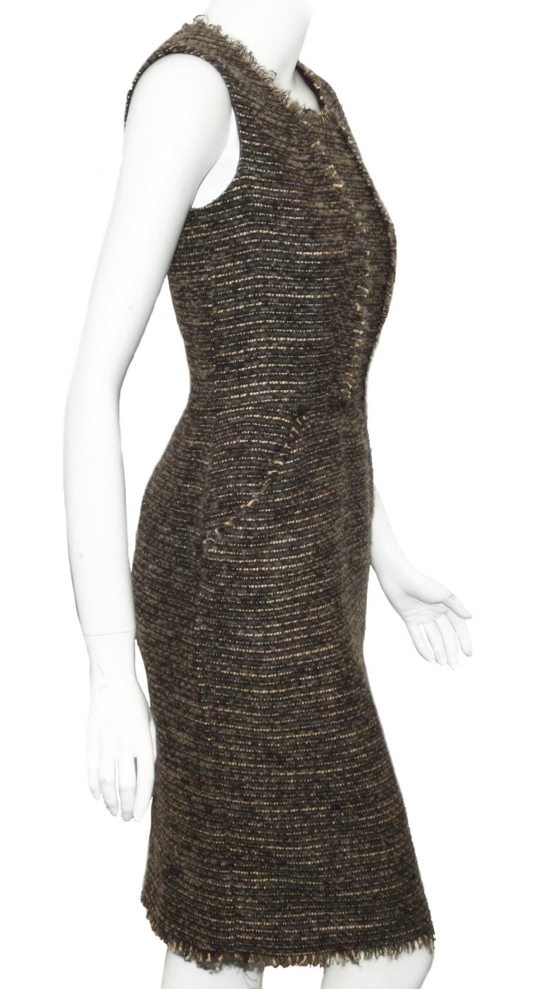 Oscar de la Renta Brown & Beige Sleeveless Dress From 2009 Fall Collection   In Excellent Condition For Sale In Palm Beach, FL