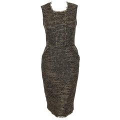 Oscar de la Renta Brown & Beige Sleeveless Wool Tweed Sheath Dress Size 6 US