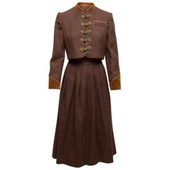 Oscar de la Renta Brown Blazer & Skirt Set