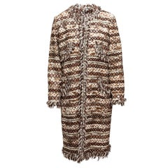 Oscar de la Renta Brown & Cream Textured Embellished Coat