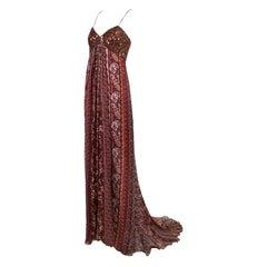 Oscar De La Renta Brown Printed & Beaded Strapless Evening Gown