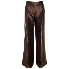 Oscar de la Renta Brown Silk Wide Leg Trousers L