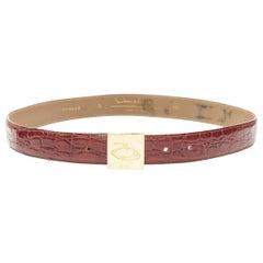 "OSCAR DE LA RENTA brown stamped mock croc gold logo buckle belt 32""-36"""