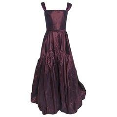 Oscar de la Renta Burgundy Silk Tiered Belted Sleeveless Gown S