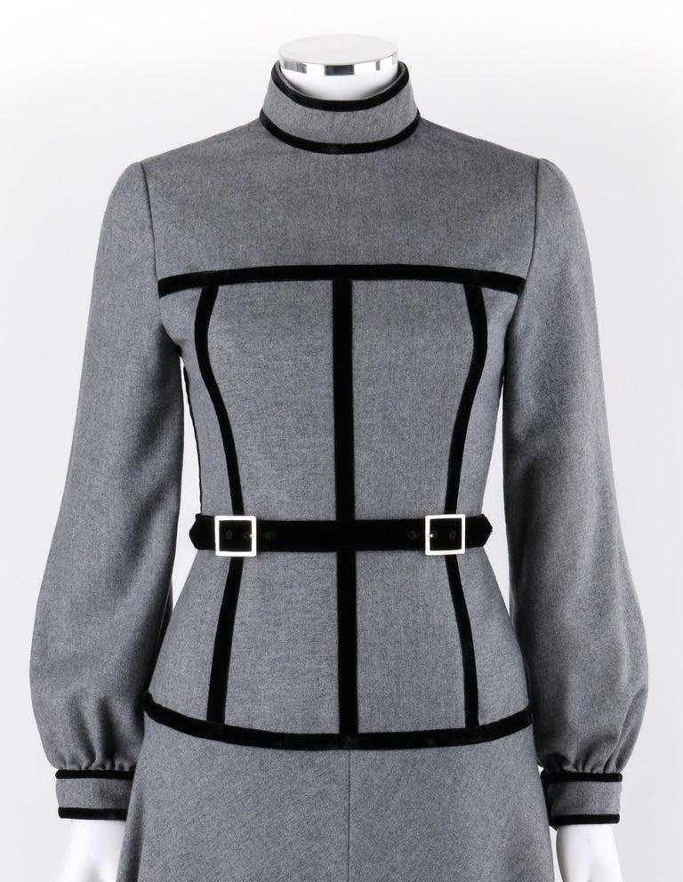 OSCAR de la RENTA c.1970s Gray Velvet Corset Trim Black Belted Dress    Circa: 1970's Label(s): Oscar de la Renta boutique; Union tag Designer: Oscar de la Renta Style: Long sleeve dress Color(s): Shades of gray (exterior, interior); black