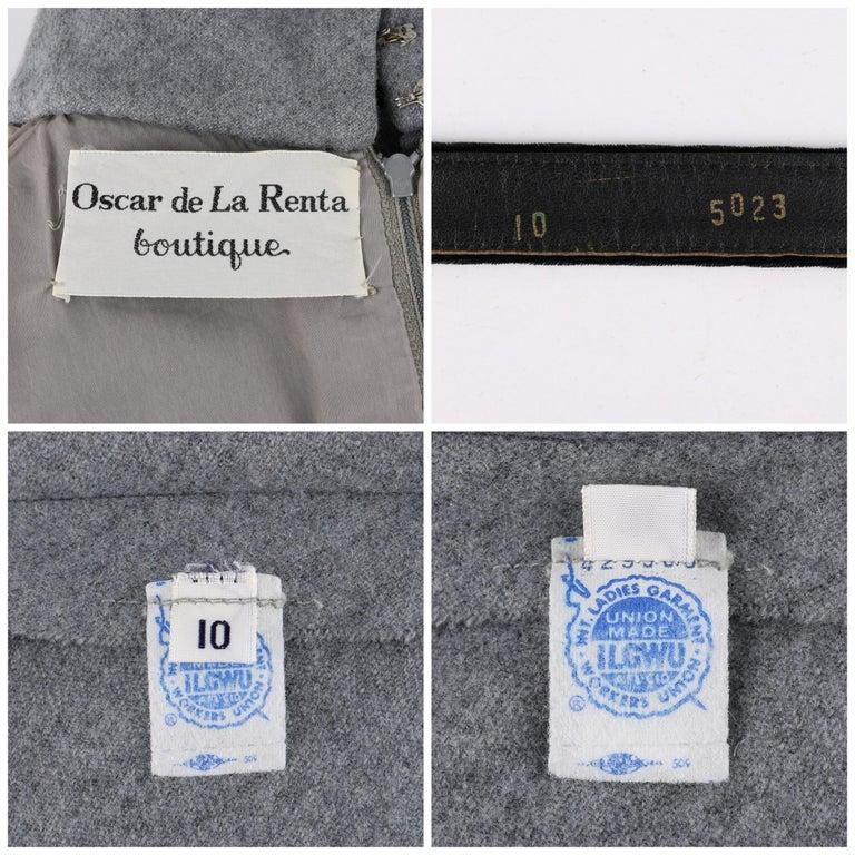 OSCAR de la RENTA c.1970s Gray Velvet Corset Trim Black Belted Dress  For Sale 3