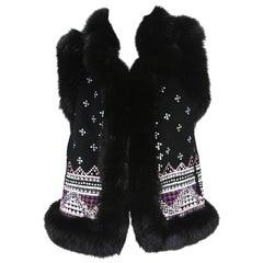 Oscar De La Renta Cashmere Sequin Embroidered Fox Fur Trim Vest Jacket US 6
