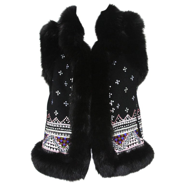 Oscar De La Renta Cashmere Sequin Embroidered Fox Fur Trim Vest Jacket US 6 For Sale