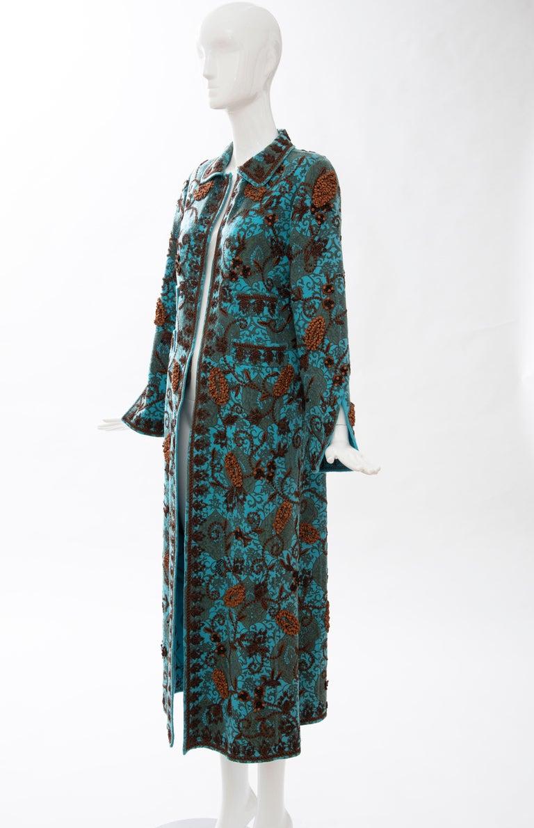 Oscar De la Renta Cerulean Printed Cashmere Bead Embroidery Coat, Circa: 2000's For Sale 6