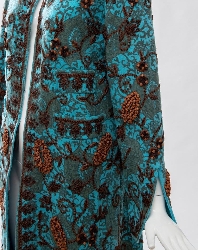 Oscar De la Renta Cerulean Printed Cashmere Bead Embroidery Coat, Circa: 2000's For Sale 7