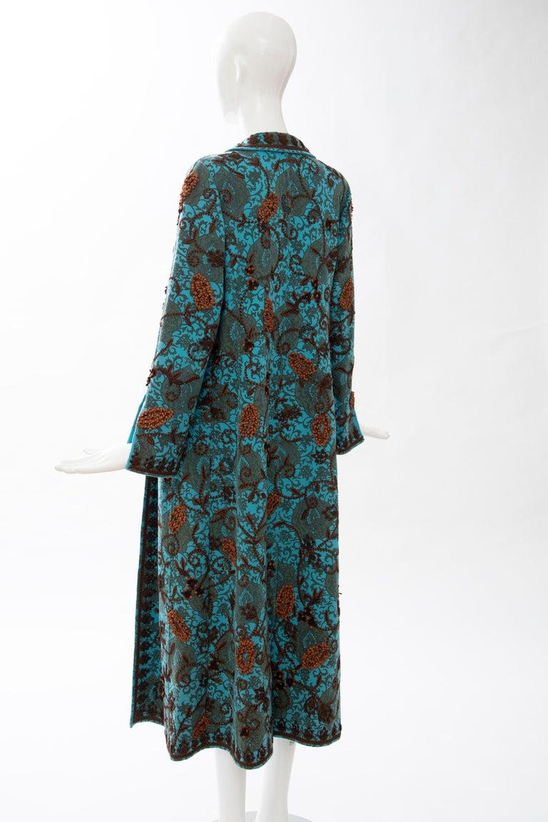 Oscar De la Renta Cerulean Printed Cashmere Bead Embroidery Coat, Circa: 2000's For Sale 8
