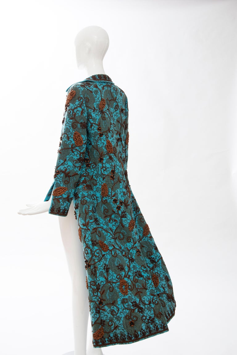 Oscar De la Renta Cerulean Printed Cashmere Bead Embroidery Coat, Circa: 2000's For Sale 10