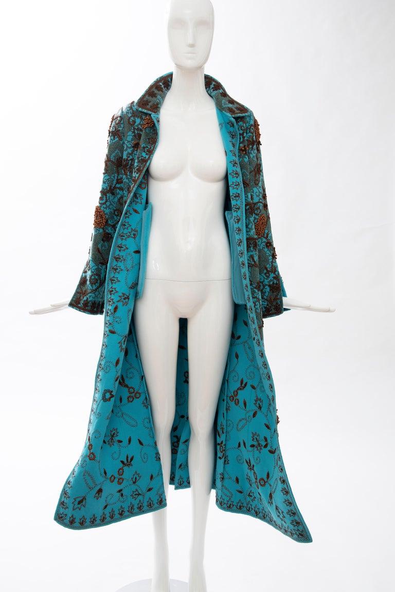 Oscar De la Renta Cerulean Printed Cashmere Bead Embroidery Coat, Circa: 2000's For Sale 11