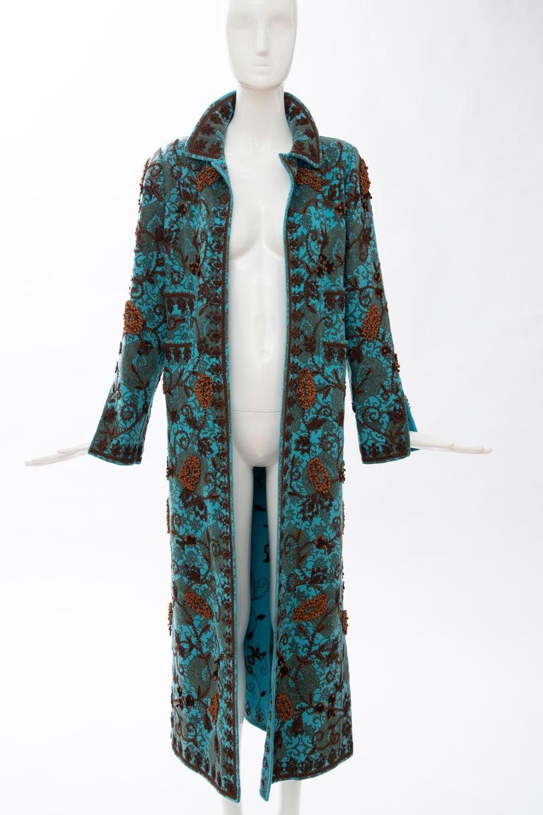 Oscar De la Renta Cerulean Printed Cashmere Bead Embroidery Coat, Circa: 2000's For Sale 12