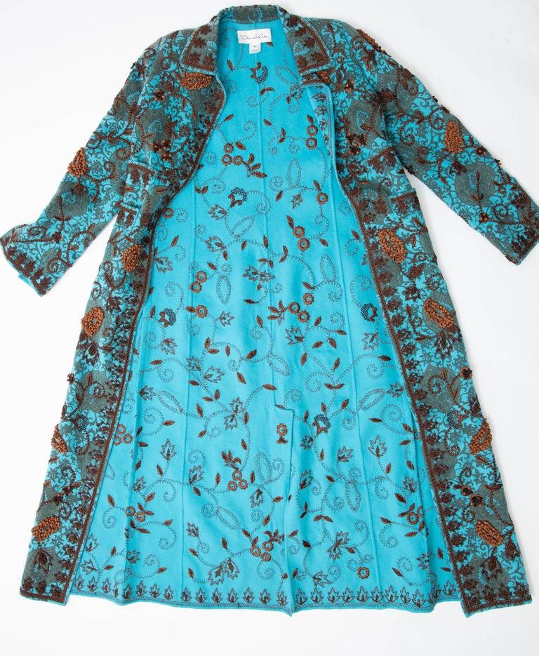 Oscar De la Renta Cerulean Printed Cashmere Bead Embroidery Coat, Circa: 2000's For Sale 13