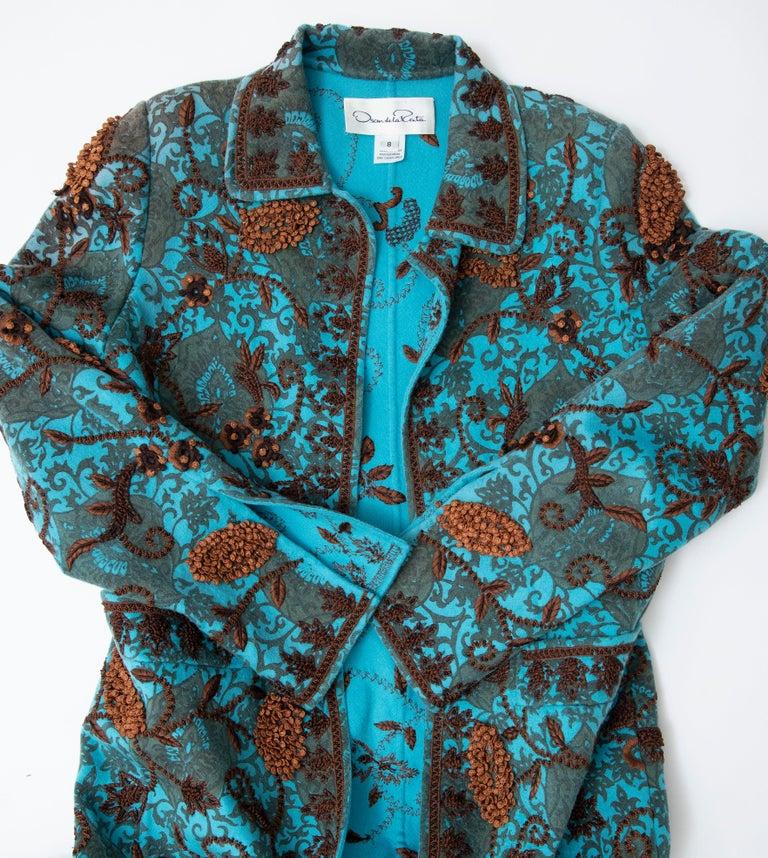 Oscar De la Renta Cerulean Printed Cashmere Bead Embroidery Coat, Circa: 2000's For Sale 14