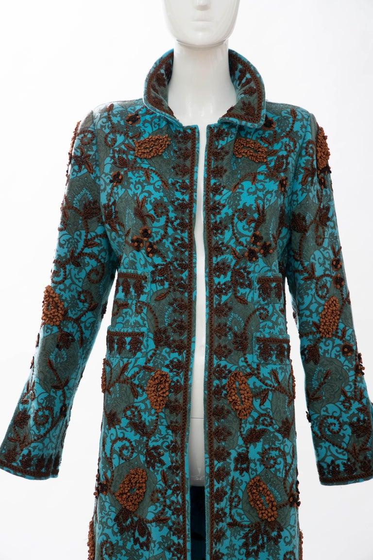 Oscar De la Renta Cerulean Printed Cashmere Bead Embroidery Coat, Circa: 2000's In Excellent Condition For Sale In Cincinnati, OH