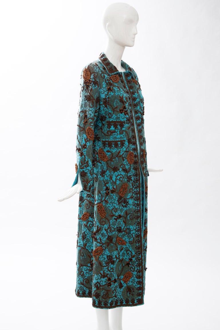 Women's Oscar De la Renta Cerulean Printed Cashmere Bead Embroidery Coat, Circa: 2000's For Sale
