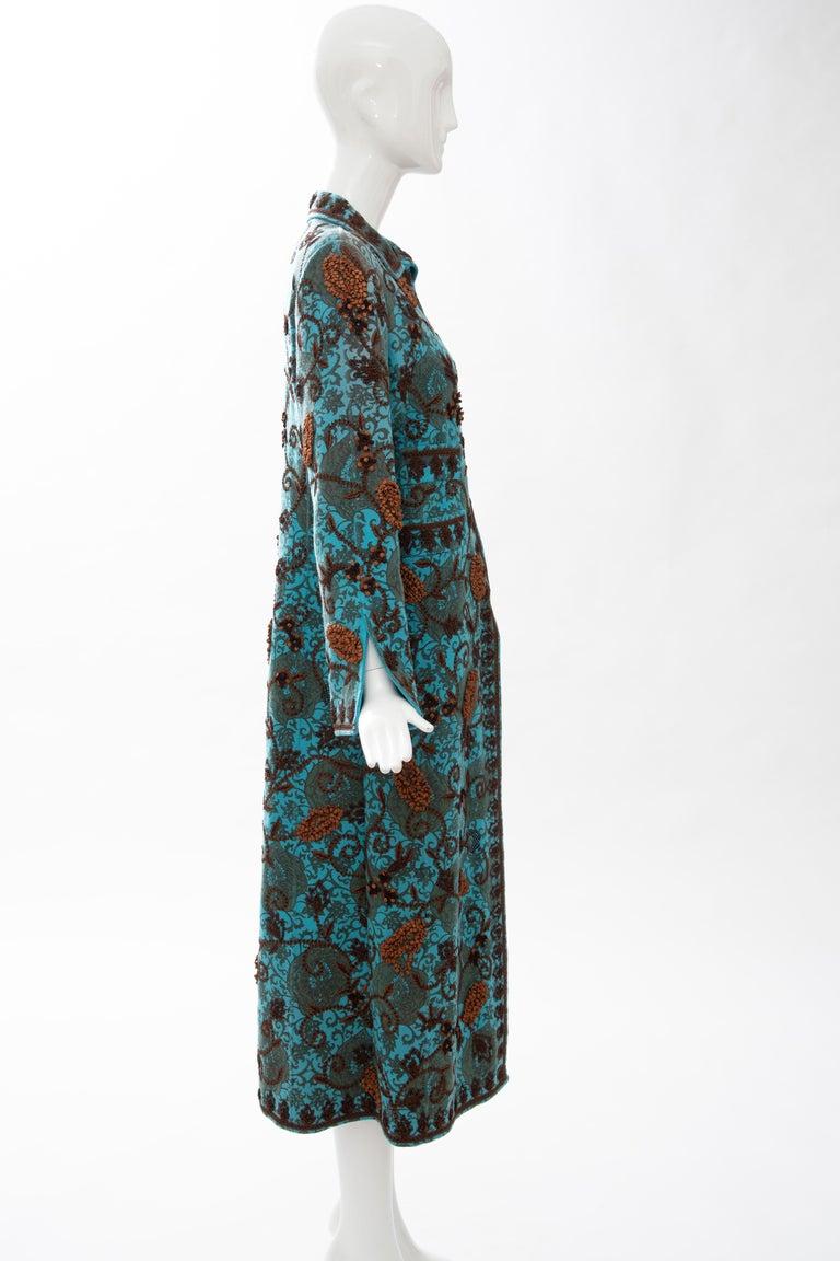 Oscar De la Renta Cerulean Printed Cashmere Bead Embroidery Coat, Circa: 2000's For Sale 1