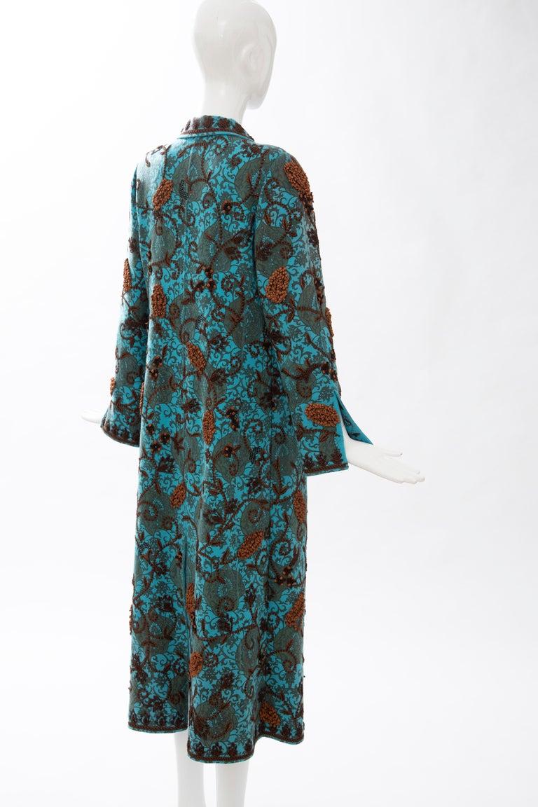 Oscar De la Renta Cerulean Printed Cashmere Bead Embroidery Coat, Circa: 2000's For Sale 2