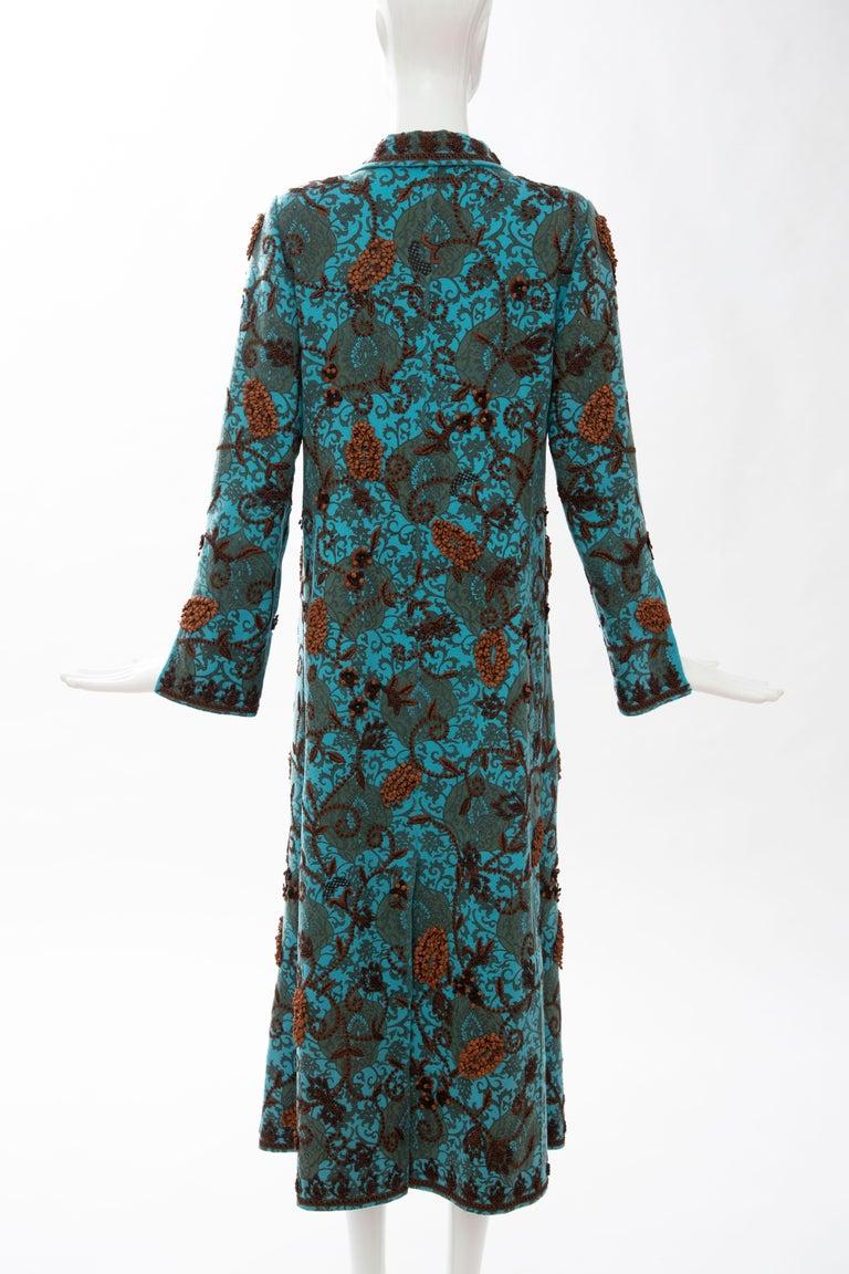 Oscar De la Renta Cerulean Printed Cashmere Bead Embroidery Coat, Circa: 2000's For Sale 3