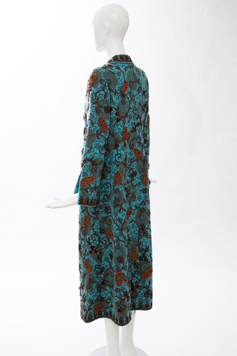Oscar De la Renta Cerulean Printed Cashmere Bead Embroidery Coat, Circa: 2000's For Sale 4