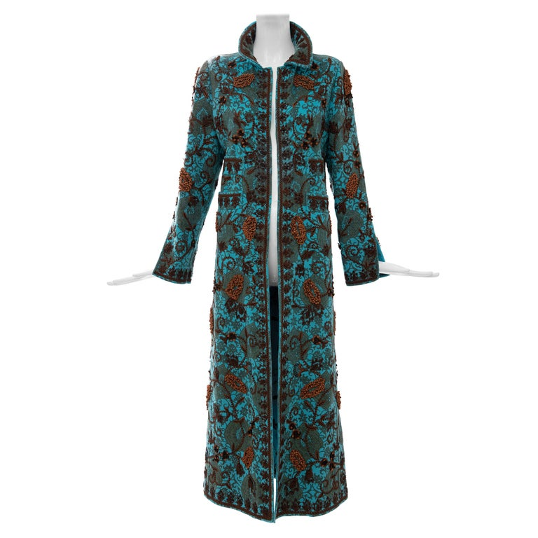 Oscar De la Renta Cerulean Printed Cashmere Bead Embroidery Coat, Circa: 2000's For Sale
