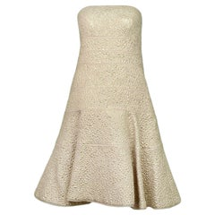 Oscar de la Renta Champagne Metallic Strapless Fit and Flare Dress sz 10