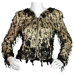 Oscar de la Renta Champagne Silk Embroidered Jacket w/ Sequins sz S