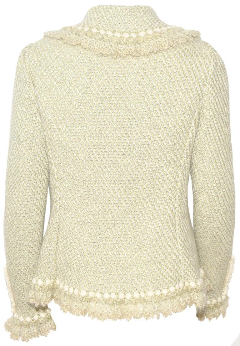 Beige Oscar de la Renta Pale Green Cashmere & Wool Crochet Jacket Size M For Sale
